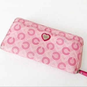 Coach pink with heart deisgn zip around wallet